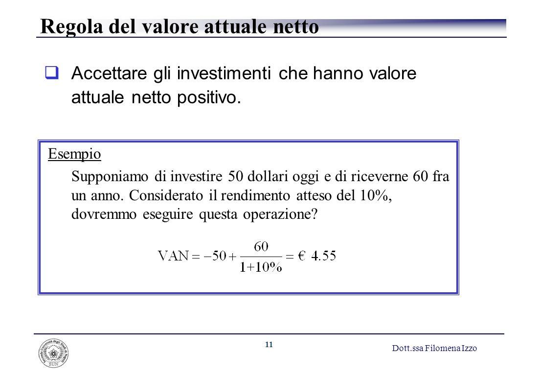 11 Dott.ssa Filomena Izzo Regola del valore attuale netto Accettare gli investimenti che hanno valore attuale netto positivo. Esempio Supponiamo di in