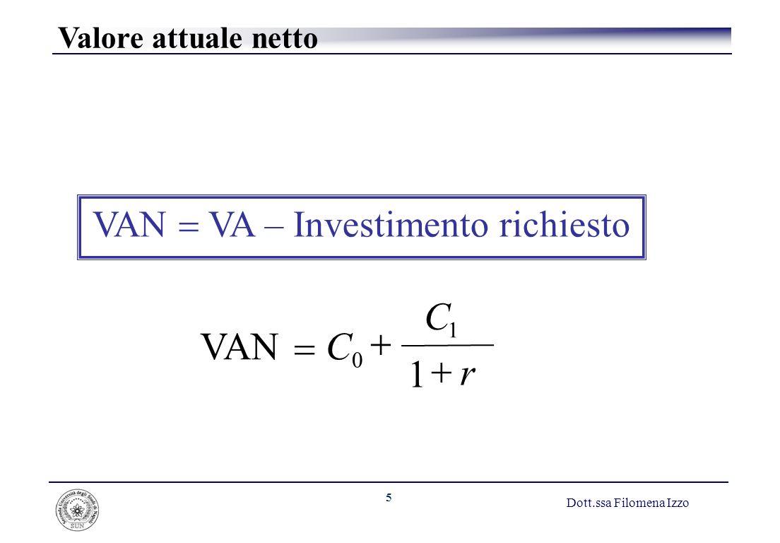 6 Dott.ssa Filomena Izzo Esempio Valutazione di un immobile a uso uffici Fase 1: Previsione dei flussi di cassa Costo dellimmobile = C 0 = 350 Prezzo di vendita nellanno 1 = C 1 = 400 Fase 2: Stima del costo opportunità del capitale Se investimenti a uguale grado di rischio nel mercato dei capitali offrono un rendimento del 7%, allora: Costo del capitale = r = 7%