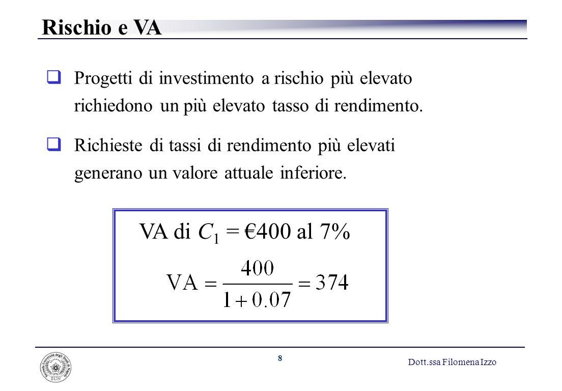 8 Dott.ssa Filomena Izzo Progetti di investimento a rischio più elevato richiedono un più elevato tasso di rendimento. Richieste di tassi di rendiment