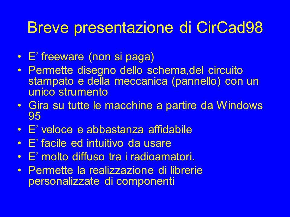 Breve presentazione di CirCad98 E freeware (non si paga) Permette disegno dello schema,del circuito stampato e della meccanica (pannello) con un unico