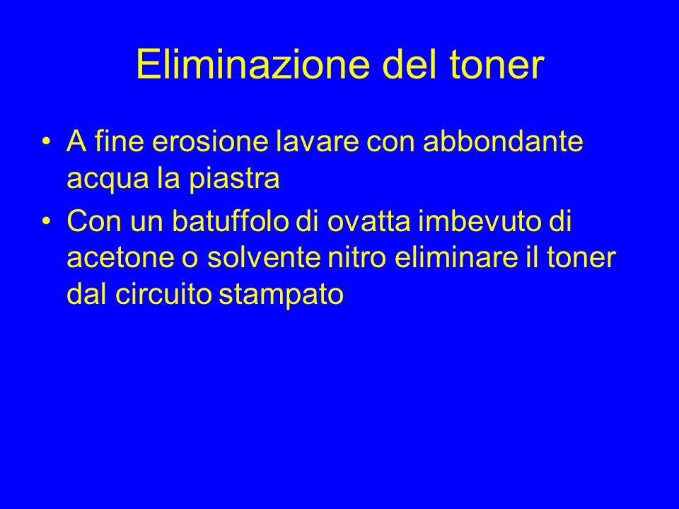 Eliminazione del toner A fine erosione lavare con abbondante acqua la piastra Con un batuffolo di ovatta imbevuto di acetone o solvente nitro eliminar