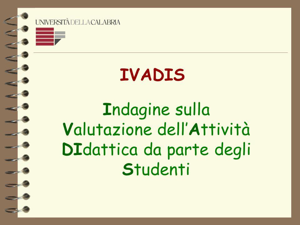 Indagine sulla Valutazione dellAttività DIdattica da parte degli Studenti IVADIS