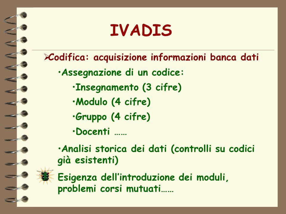 IVADIS Codifica: acquisizione informazioni banca dati Assegnazione di un codice: Insegnamento (3 cifre) Modulo (4 cifre) Gruppo (4 cifre) Docenti …… A