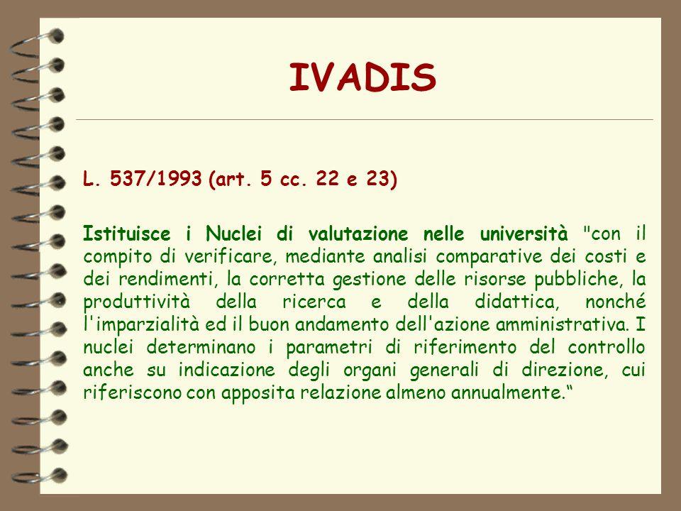 IVADIS L. 537/1993 (art. 5 cc. 22 e 23) Istituisce i Nuclei di valutazione nelle università