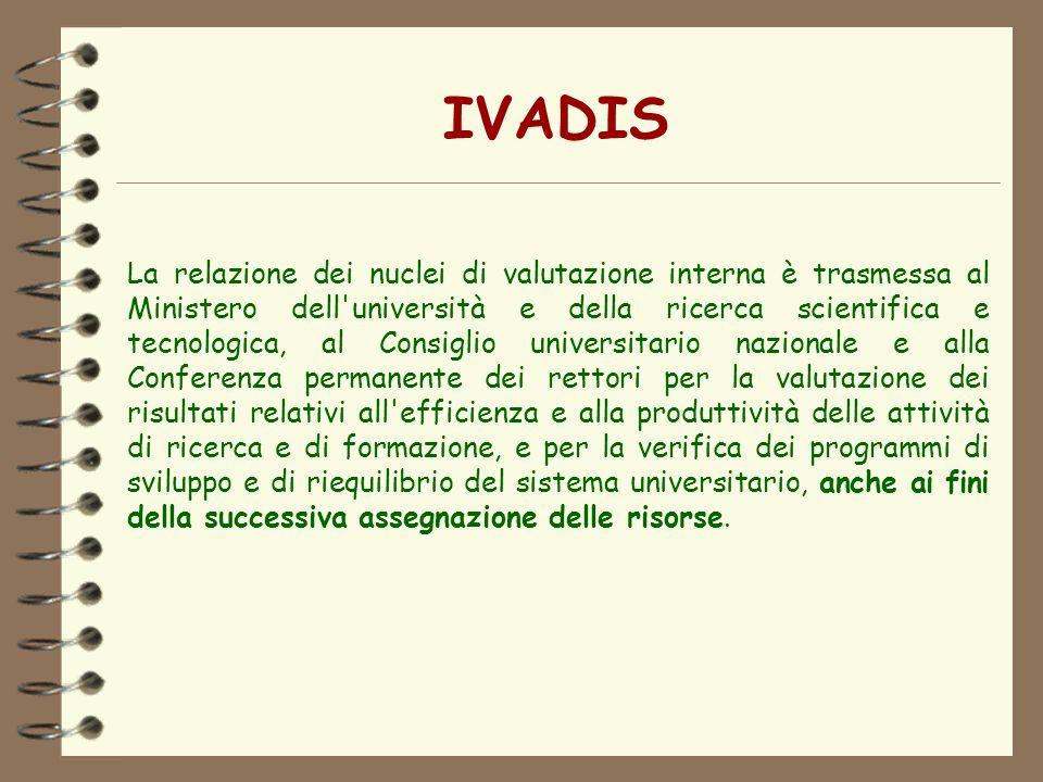 IVADIS La relazione dei nuclei di valutazione interna è trasmessa al Ministero dell'università e della ricerca scientifica e tecnologica, al Consiglio