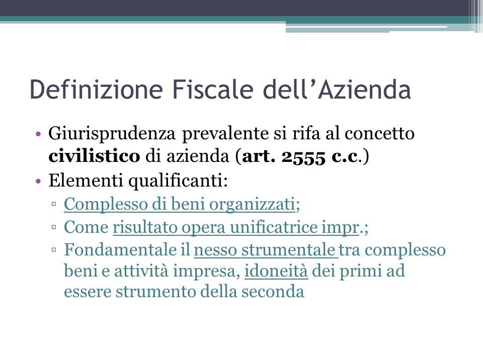 Definizione Fiscale dellAzienda Giurisprudenza prevalente si rifa al concetto civilistico di azienda (art. 2555 c.c.) Elementi qualificanti: Complesso