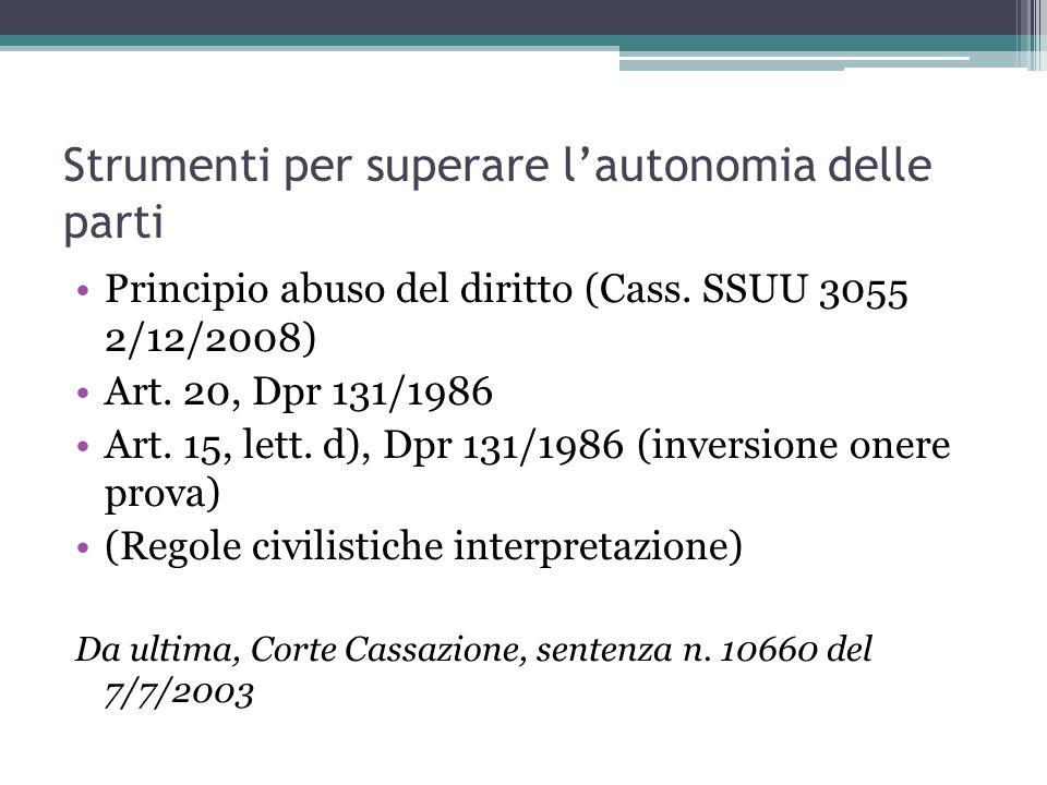 Strumenti per superare lautonomia delle parti Principio abuso del diritto (Cass. SSUU 3055 2/12/2008) Art. 20, Dpr 131/1986 Art. 15, lett. d), Dpr 131