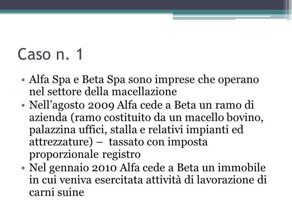 Caso n. 1 Alfa Spa e Beta Spa sono imprese che operano nel settore della macellazione Nellagosto 2009 Alfa cede a Beta un ramo di azienda (ramo costit