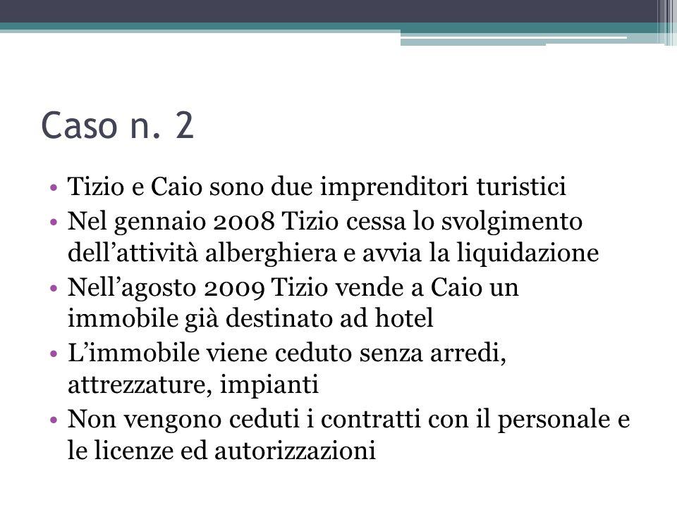 Caso n. 2 Tizio e Caio sono due imprenditori turistici Nel gennaio 2008 Tizio cessa lo svolgimento dellattività alberghiera e avvia la liquidazione Ne