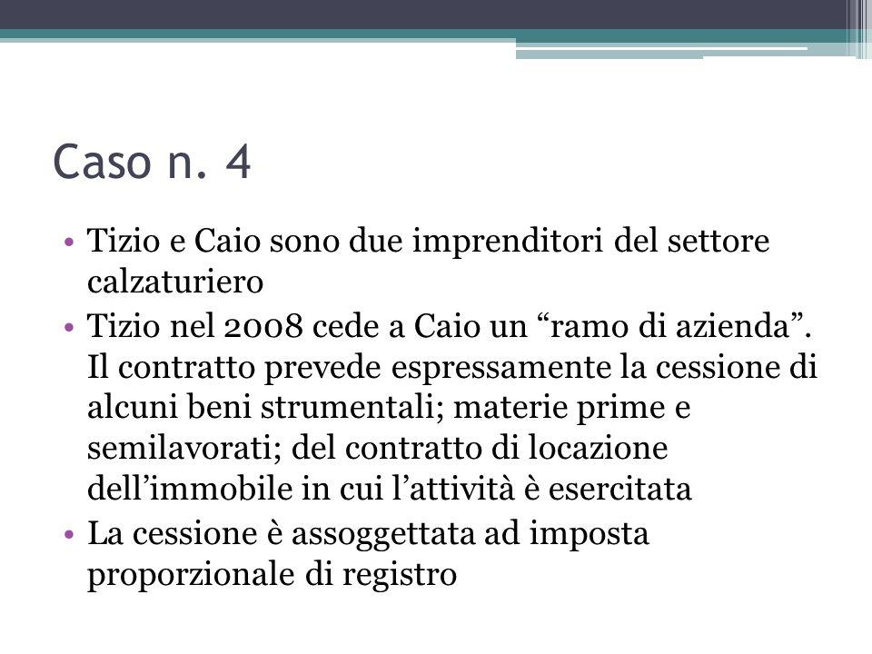 Caso n. 4 Tizio e Caio sono due imprenditori del settore calzaturiero Tizio nel 2008 cede a Caio un ramo di azienda. Il contratto prevede espressament