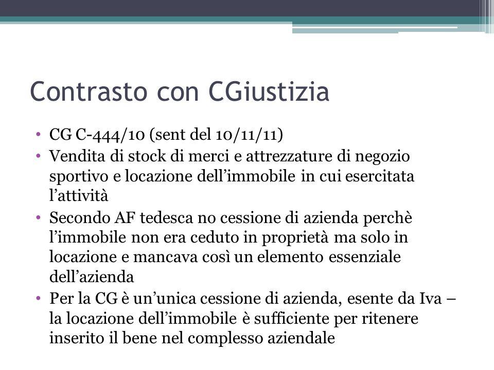 Contrasto con CGiustizia CG C-444/10 (sent del 10/11/11) Vendita di stock di merci e attrezzature di negozio sportivo e locazione dellimmobile in cui