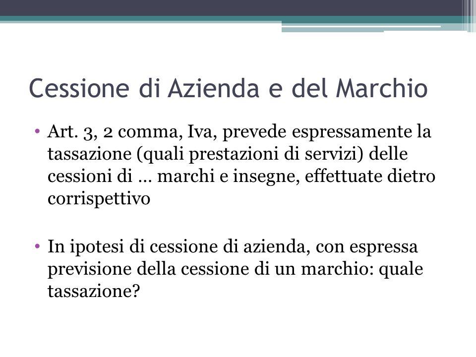 Cessione di Azienda e del Marchio Art. 3, 2 comma, Iva, prevede espressamente la tassazione (quali prestazioni di servizi) delle cessioni di … marchi