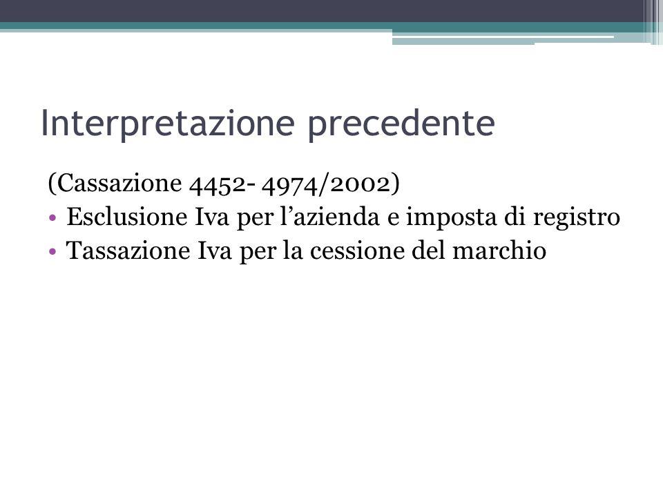 Interpretazione precedente (Cassazione 4452- 4974/2002) Esclusione Iva per lazienda e imposta di registro Tassazione Iva per la cessione del marchio