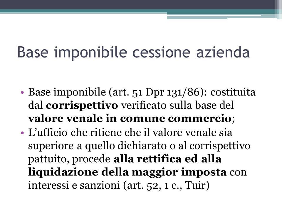 Base imponibile cessione azienda Base imponibile (art. 51 Dpr 131/86): costituita dal corrispettivo verificato sulla base del valore venale in comune