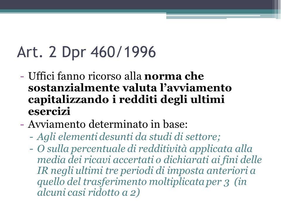 Art. 2 Dpr 460/1996 -Uffici fanno ricorso alla norma che sostanzialmente valuta lavviamento capitalizzando i redditi degli ultimi esercizi -Avviamento