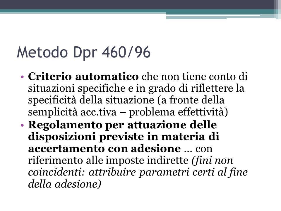 Metodo Dpr 460/96 Criterio automatico che non tiene conto di situazioni specifiche e in grado di riflettere la specificità della situazione (a fronte