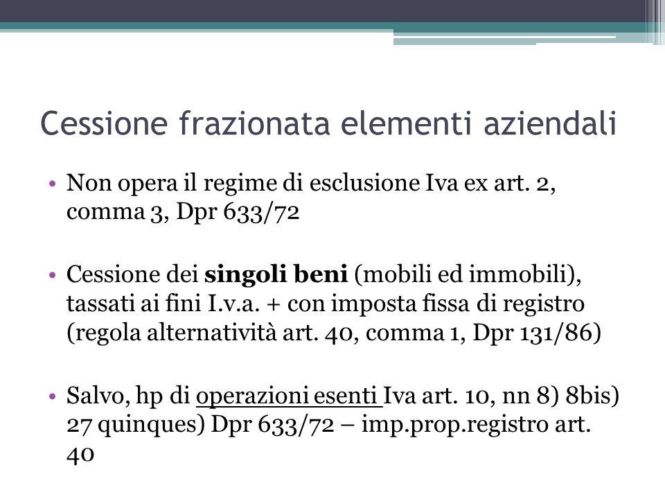 Cessione frazionata elementi aziendali Non opera il regime di esclusione Iva ex art. 2, comma 3, Dpr 633/72 Cessione dei singoli beni (mobili ed immob