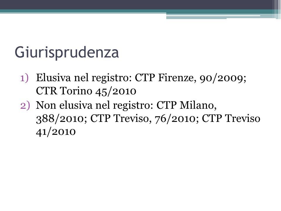 Giurisprudenza 1)Elusiva nel registro: CTP Firenze, 90/2009; CTR Torino 45/2010 2)Non elusiva nel registro: CTP Milano, 388/2010; CTP Treviso, 76/2010