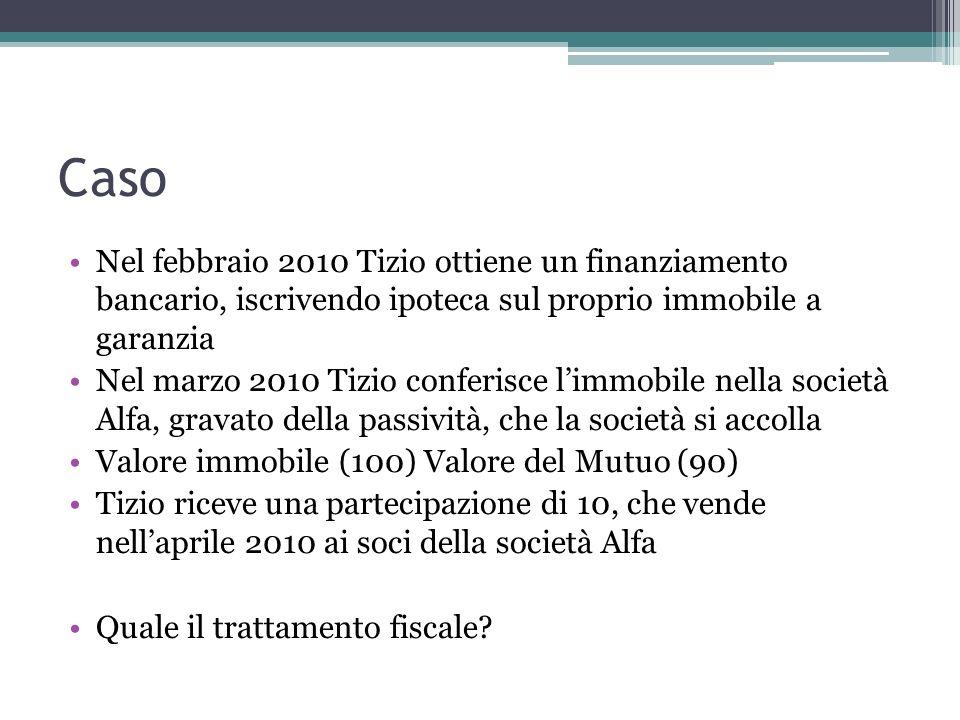 Caso Nel febbraio 2010 Tizio ottiene un finanziamento bancario, iscrivendo ipoteca sul proprio immobile a garanzia Nel marzo 2010 Tizio conferisce lim