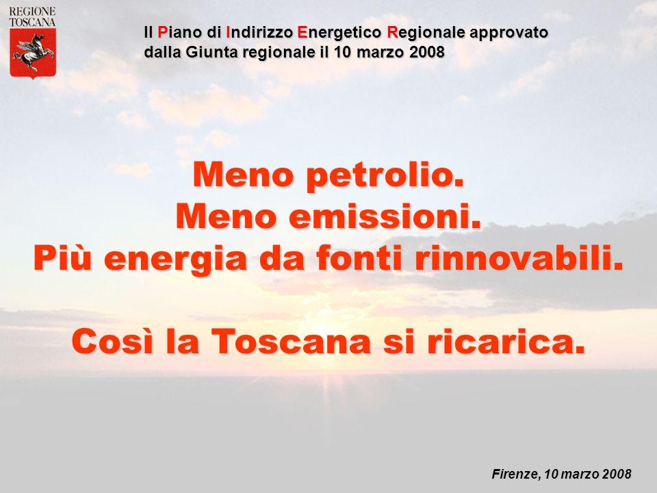 Firenze, 10 marzo 2008 Il Piano di Indirizzo Energetico Regionale approvato dalla Giunta regionale il 10 marzo 2008 Meno petrolio.