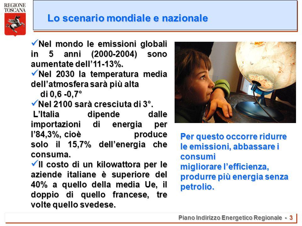 Piano Indirizzo Energetico Regionale - 3 Lo scenario mondiale e nazionale Nel mondo le emissioni globali in 5 anni (2000-2004) sono aumentate dell11-13%.