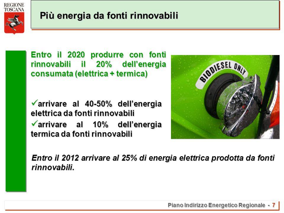 Piano Indirizzo Energetico Regionale - 7 Più energia da fonti rinnovabili arrivare al 40-50% dellenergia elettrica da fonti rinnovabili arrivare al 40-50% dellenergia elettrica da fonti rinnovabili arrivare al 10% dellenergia termica da fonti rinnovabili arrivare al 10% dellenergia termica da fonti rinnovabili Entro il 2020 produrre con fonti rinnovabili il 20% dellenergia consumata (elettrica + termica) Entro il 2012 arrivare al 25% di energia elettrica prodotta da fonti rinnovabili.