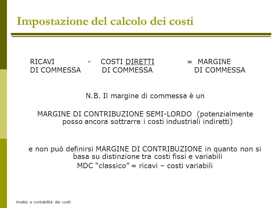 Analisi e contabilità dei costi = MARGINE DI COMMESSA RICAVI - COSTI DIRETTI DI COMMESSA N.B. Il margine di commessa è un MARGINE DI CONTRIBUZIONE SEM