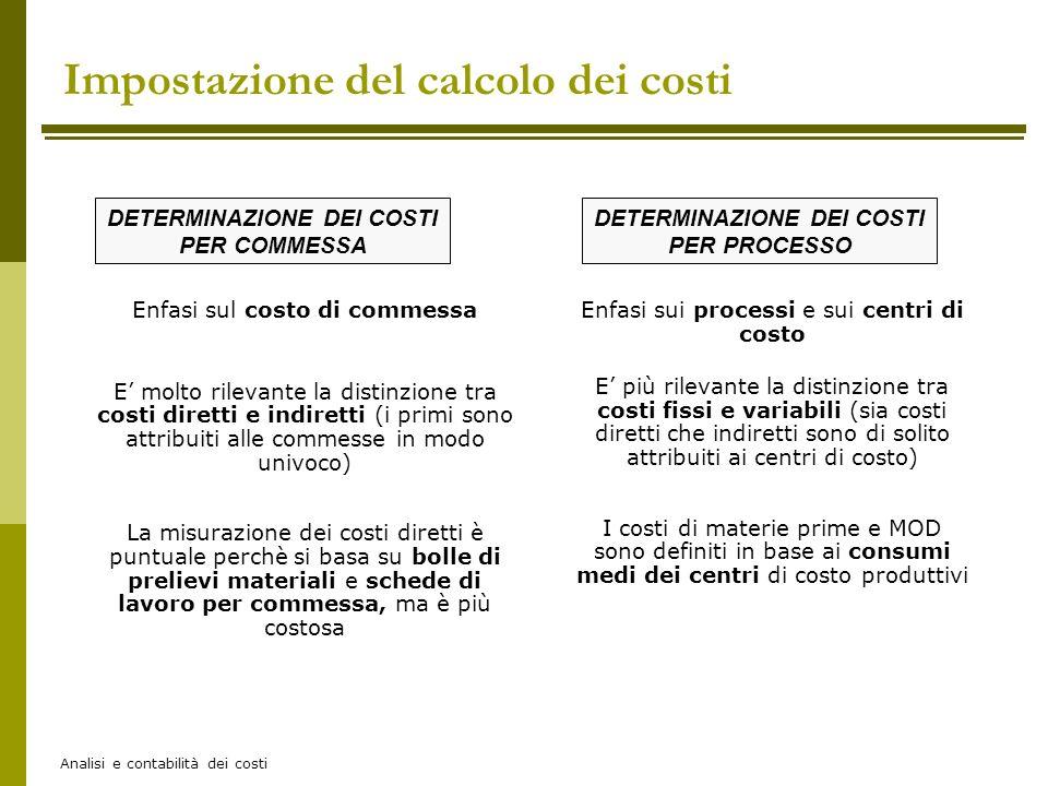 Analisi e contabilità dei costi DETERMINAZIONE DEI COSTI PER PROCESSO DETERMINAZIONE DEI COSTI PER COMMESSA Enfasi sul costo di commessa E molto rilev