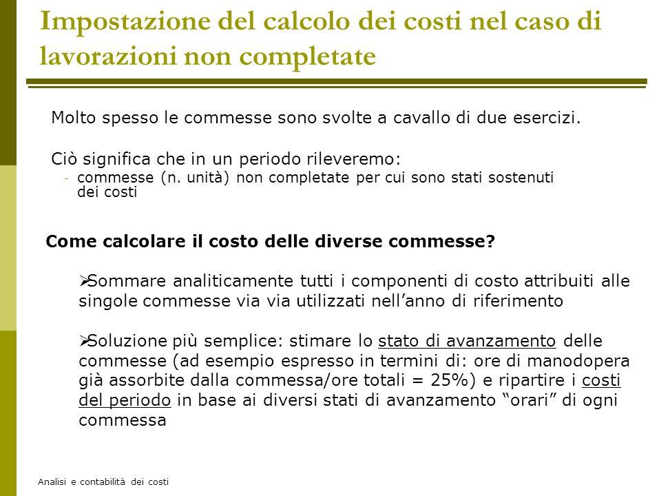 Analisi e contabilità dei costi Impostazione del calcolo dei costi nel caso di lavorazioni non completate Ciò significa che in un periodo rileveremo: