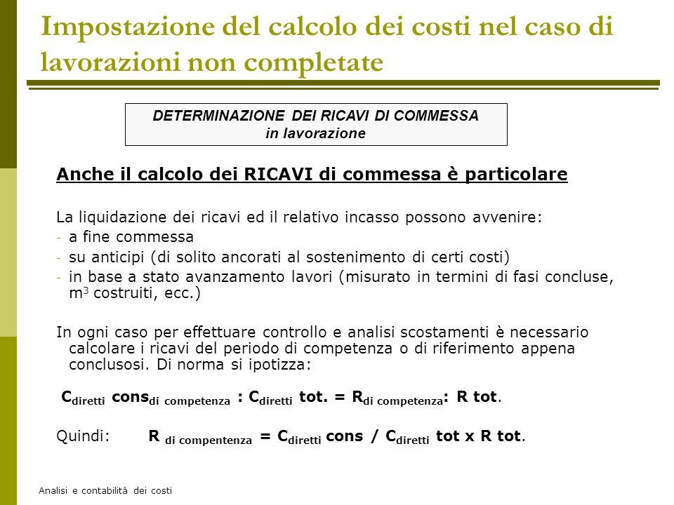 Analisi e contabilità dei costi Anche il calcolo dei RICAVI di commessa è particolare La liquidazione dei ricavi ed il relativo incasso possono avveni