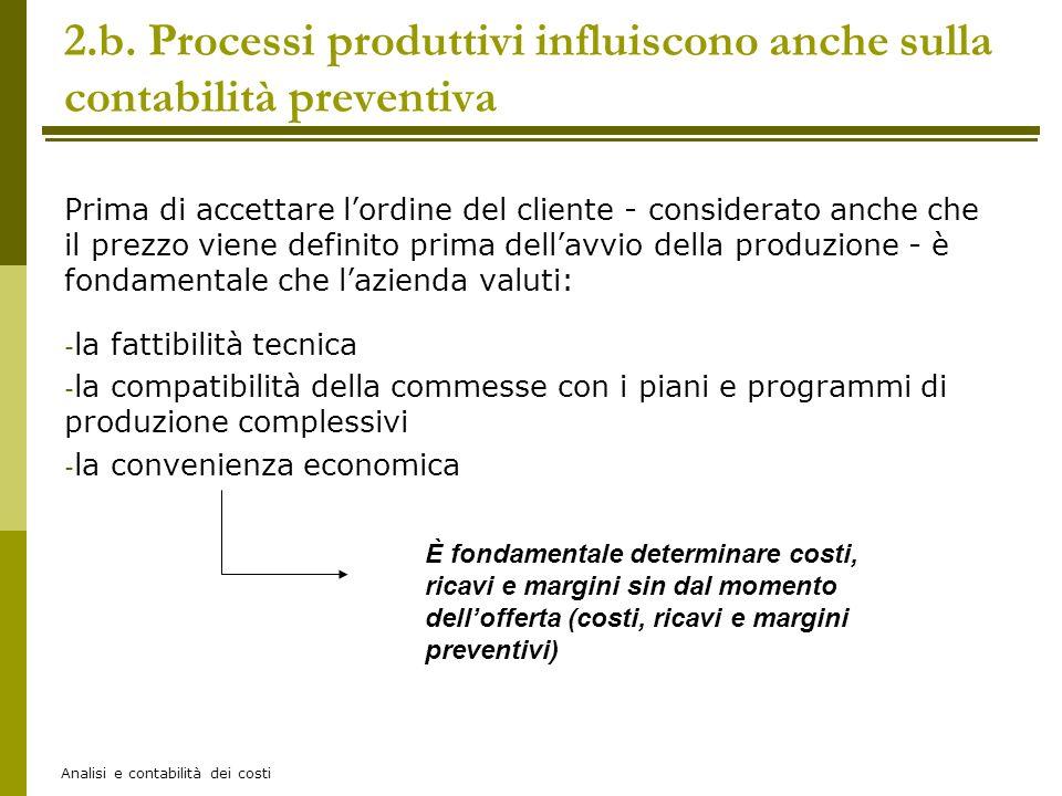 Analisi e contabilità dei costi 2.b. Processi produttivi influiscono anche sulla contabilità preventiva Prima di accettare lordine del cliente - consi