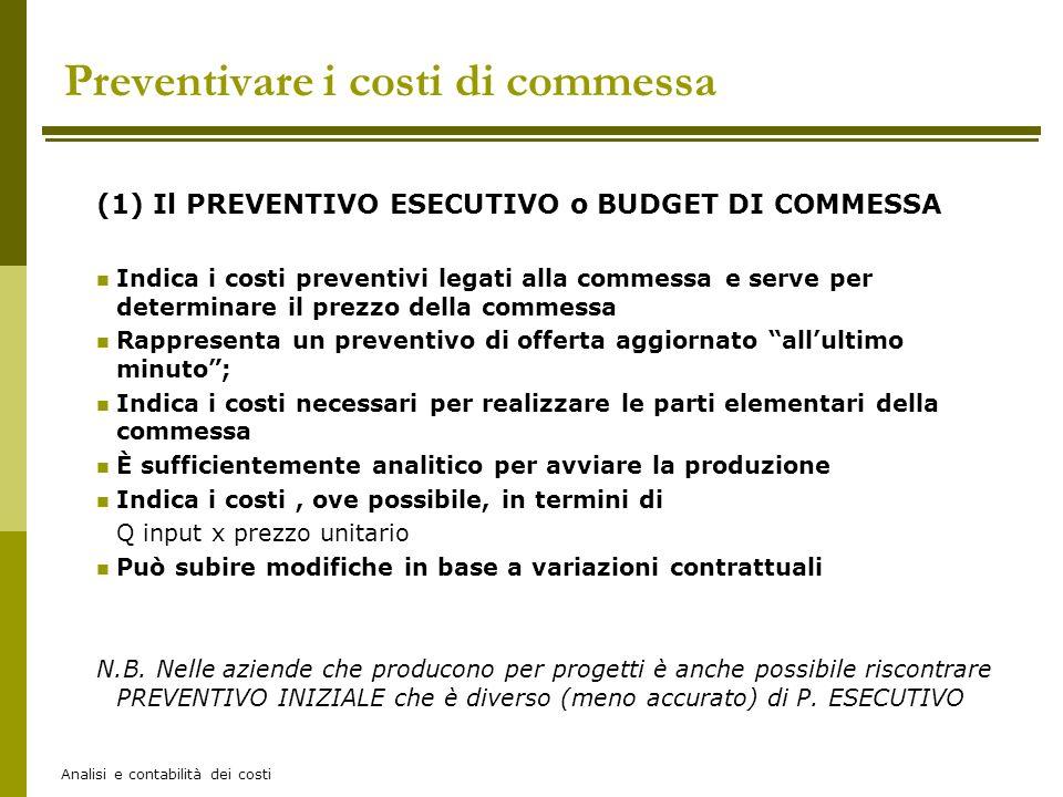 Analisi e contabilità dei costi (1) Il PREVENTIVO ESECUTIVO o BUDGET DI COMMESSA Indica i costi preventivi legati alla commessa e serve per determinar