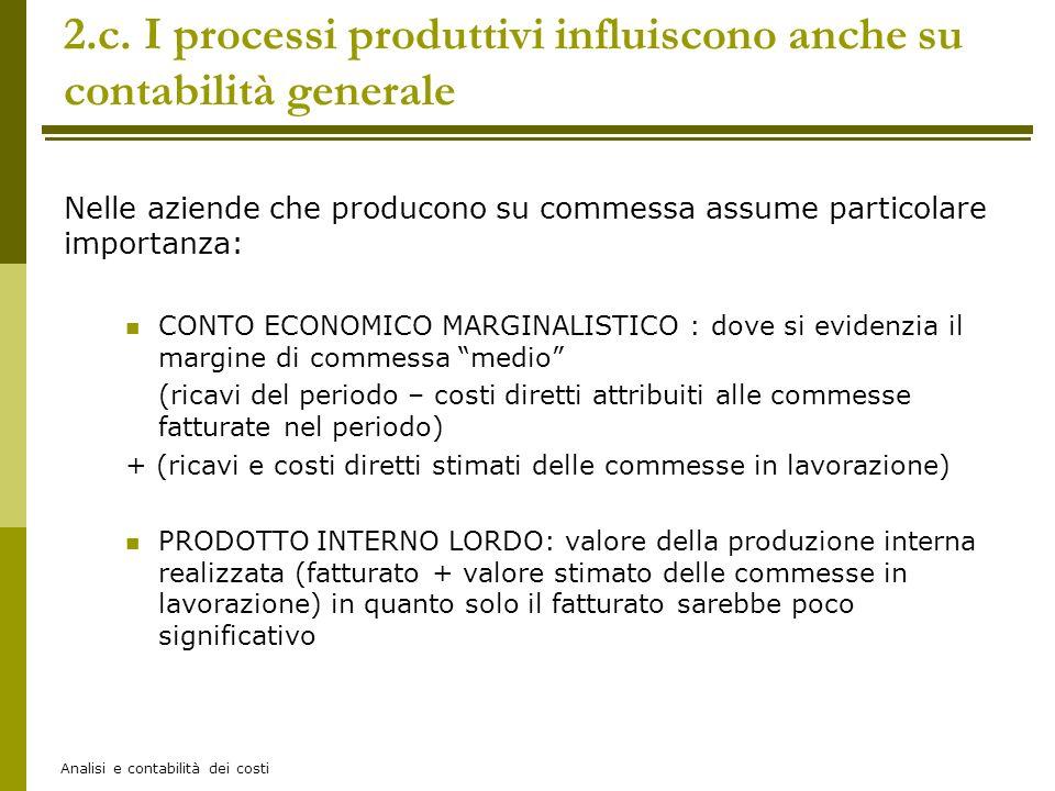 Analisi e contabilità dei costi 2.c. I processi produttivi influiscono anche su contabilità generale Nelle aziende che producono su commessa assume pa