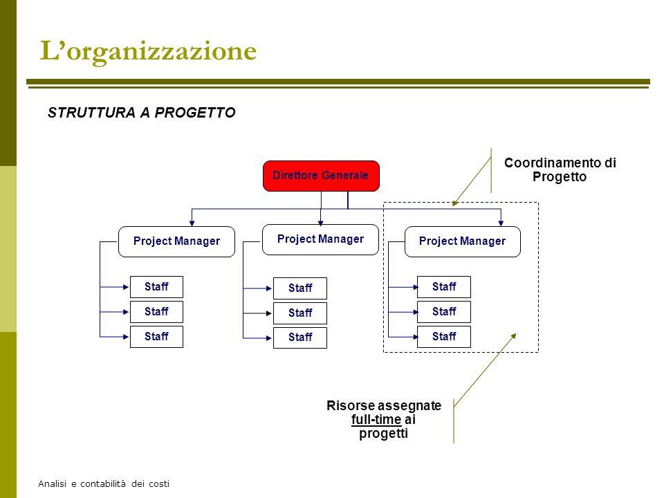 Analisi e contabilità dei costi Lorganizzazione STRUTTURA A PROGETTO Direttore Generale Project Manager Staff Coordinamento di Progetto Risorse assegn