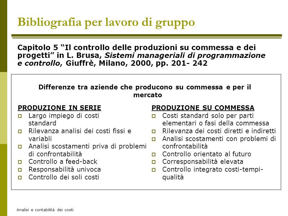 Analisi e contabilità dei costi Bibliografia per lavoro di gruppo Capitolo 5 Il controllo delle produzioni su commessa e dei progetti in L. Brusa, Sis