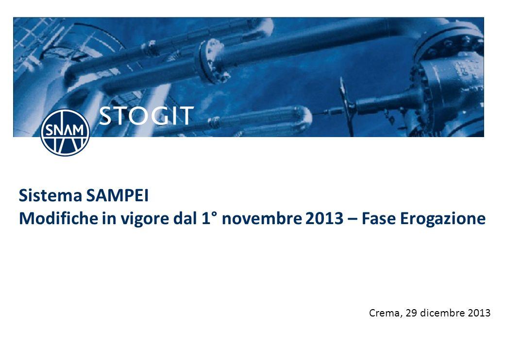 stogit.it Sistema SAMPEI Modifiche in vigore dal 1° novembre 2013 – Fase Erogazione Crema, 29 dicembre 2013