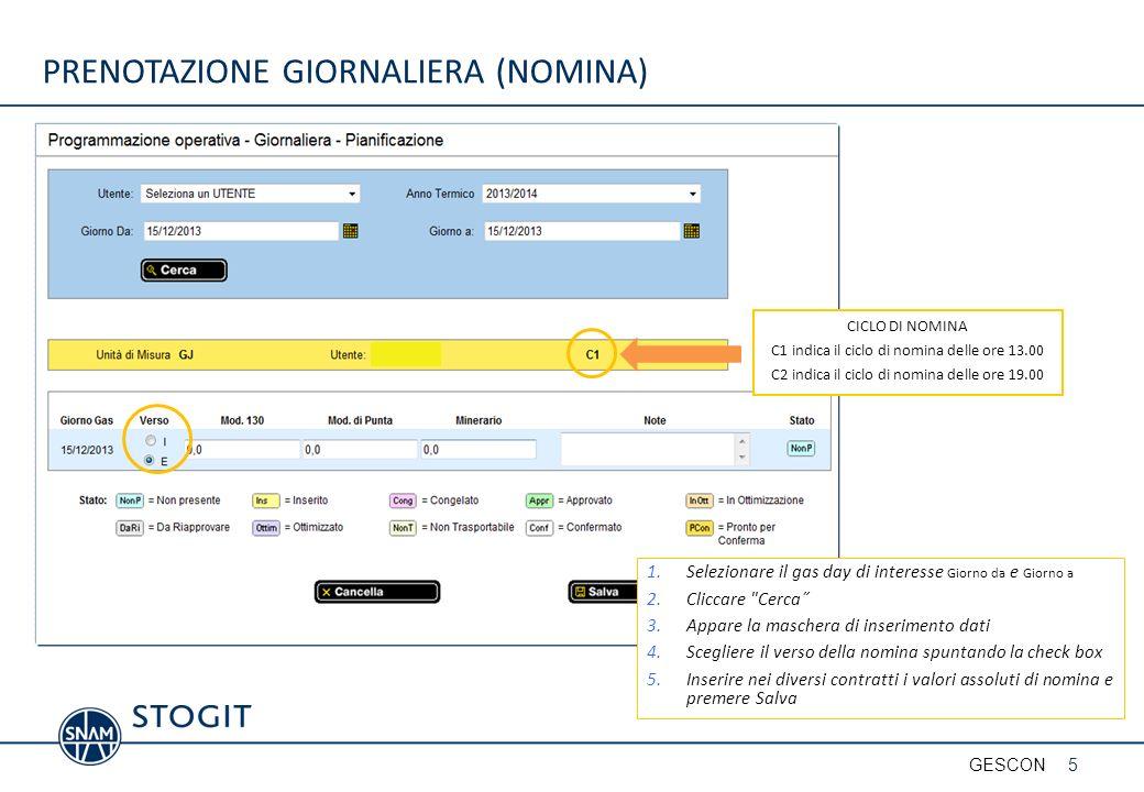 PRENOTAZIONE GIORNALIERA (NOMINA) CICLO DI NOMINA C1 indica il ciclo di nomina delle ore 13.00 C2 indica il ciclo di nomina delle ore 19.00 1.Selezion