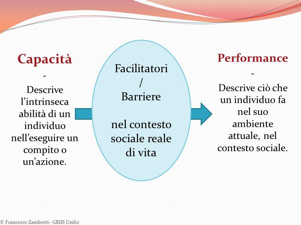 Capacità - Descrive lintrinseca abilità di un individuo nelleseguire un compito o unazione. © Francesco Zambotti - GRIIS Unibz Facilitatori / Barriere