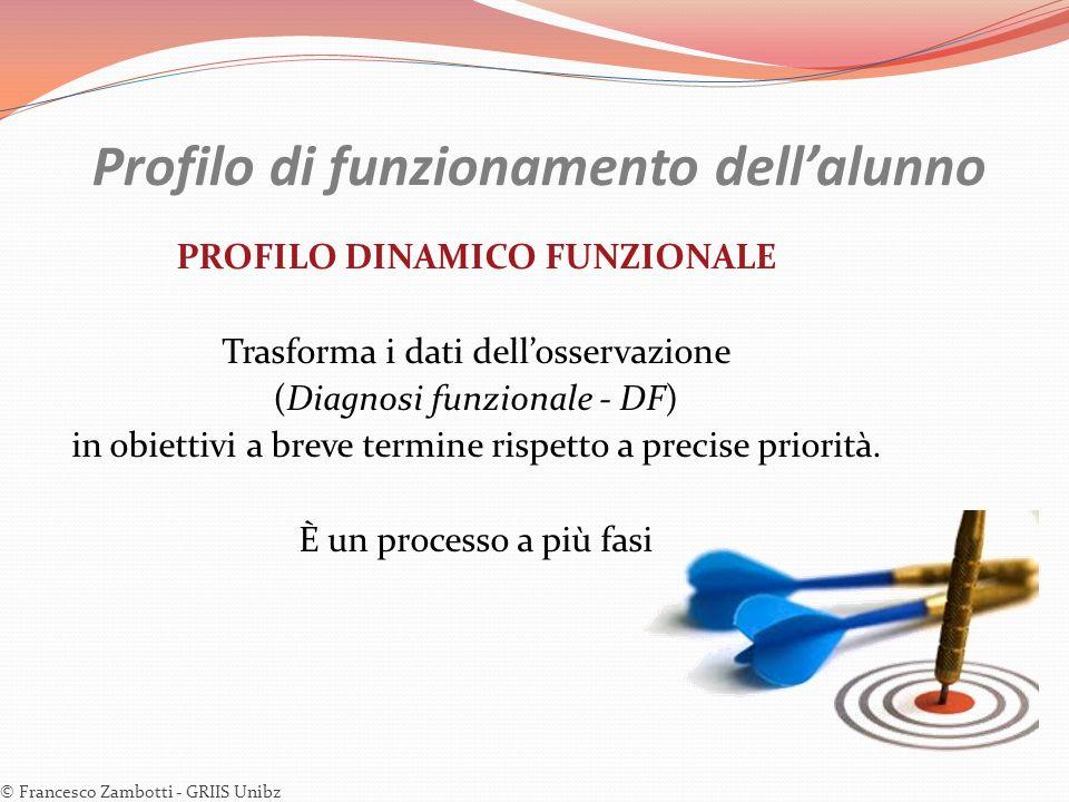 Profilo di funzionamento dellalunno PROFILO DINAMICO FUNZIONALE Trasforma i dati dellosservazione (Diagnosi funzionale - DF) in obiettivi a breve term