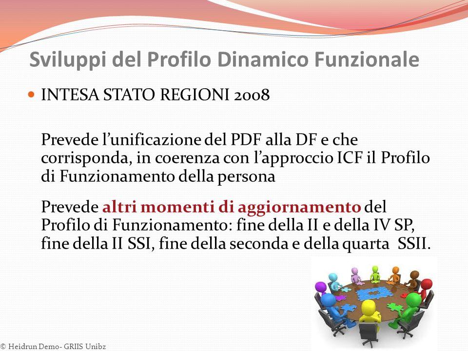 Sviluppi del Profilo Dinamico Funzionale INTESA STATO REGIONI 2008 Prevede lunificazione del PDF alla DF e che corrisponda, in coerenza con lapproccio