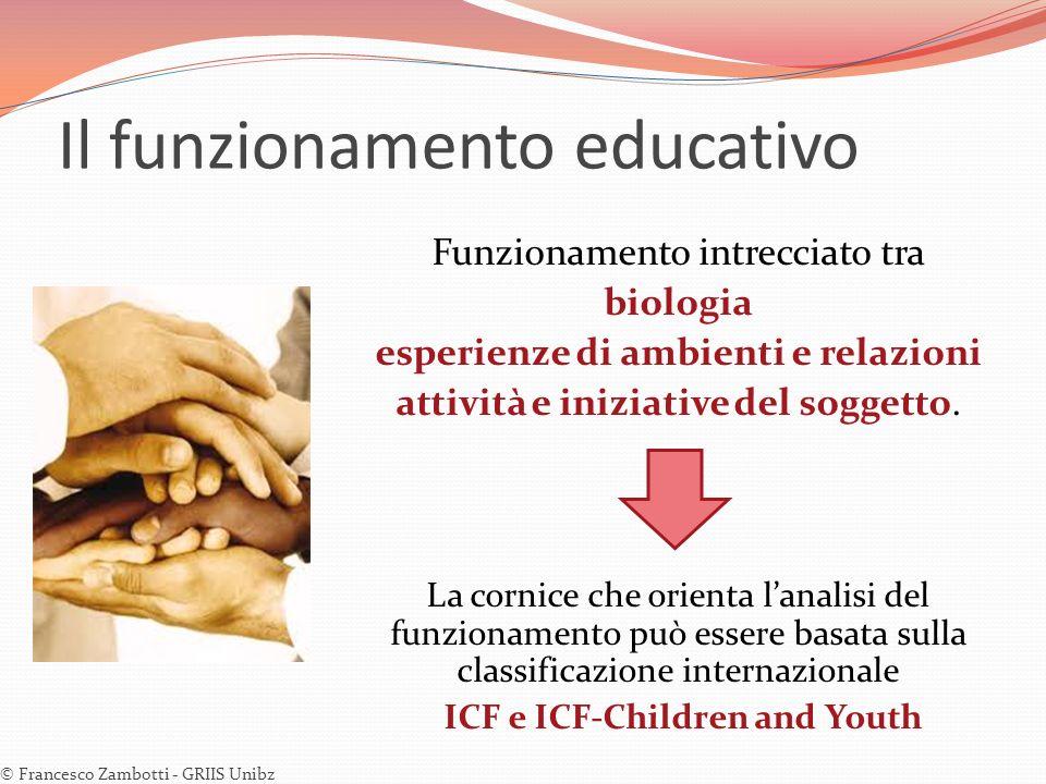Il funzionamento educativo Funzionamento intrecciato tra biologia esperienze di ambienti e relazioni attività e iniziative del soggetto. La cornice ch