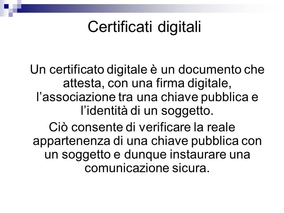 Certificati digitali Un certificato digitale è un documento che attesta, con una firma digitale, lassociazione tra una chiave pubblica e lidentità di