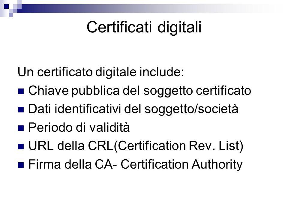 Certificati digitali Un certificato digitale include: Chiave pubblica del soggetto certificato Dati identificativi del soggetto/società Periodo di val