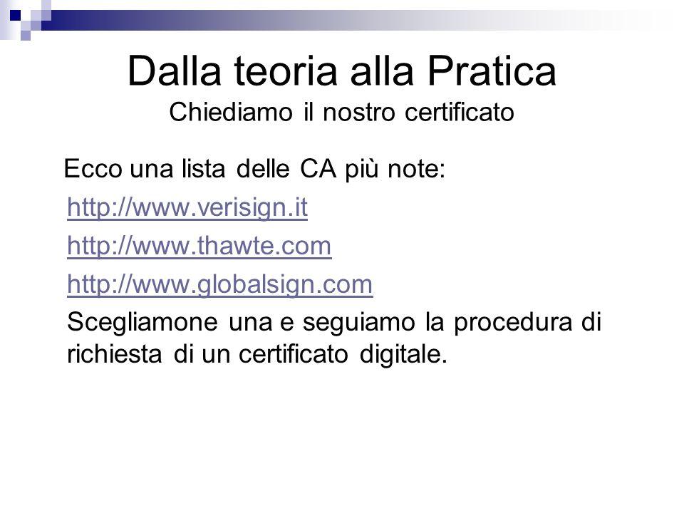 Dalla teoria alla Pratica Chiediamo il nostro certificato Ecco una lista delle CA più note: http://www.verisign.it http://www.thawte.com http://www.gl