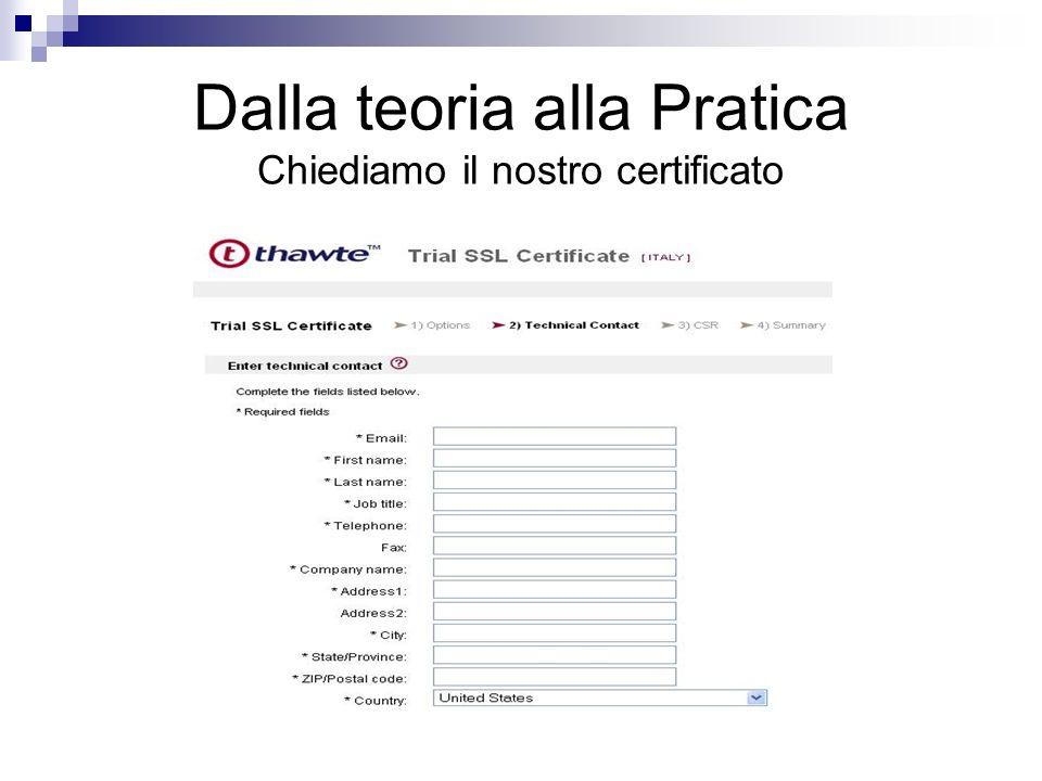 Dalla teoria alla Pratica Chiediamo il nostro certificato