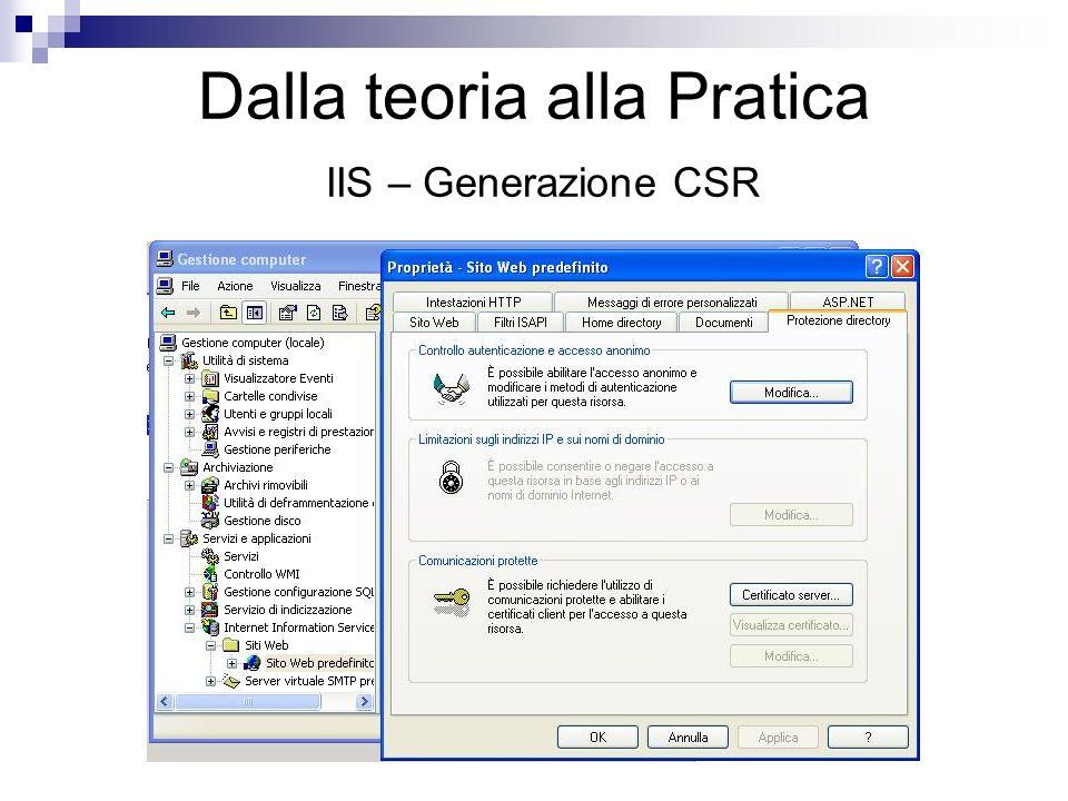 Dalla teoria alla Pratica IIS – Generazione CSR
