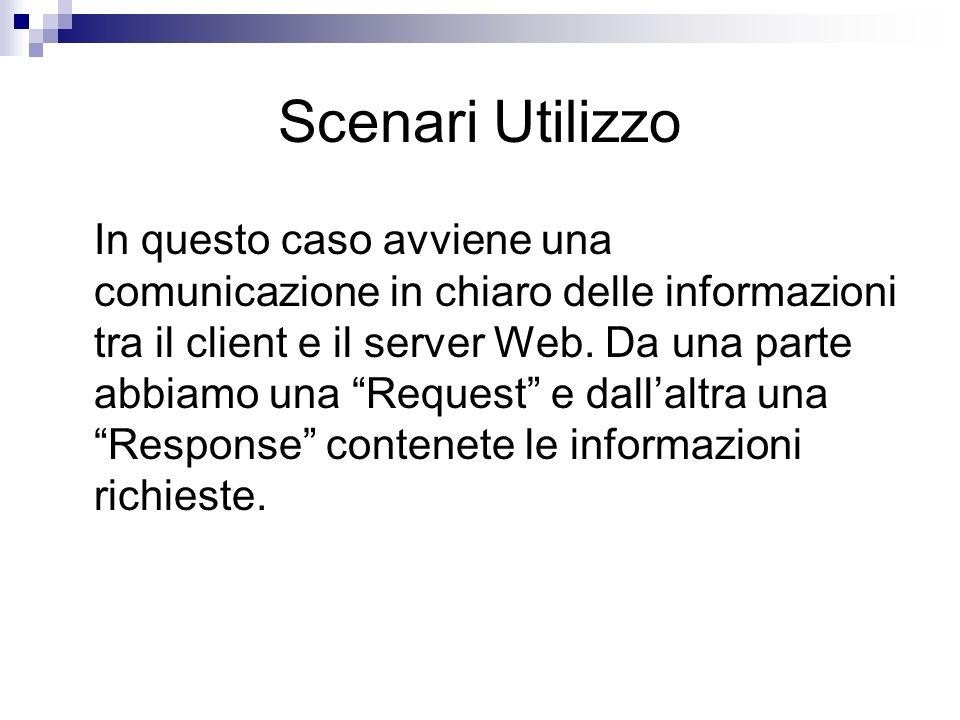 In questo caso avviene una comunicazione in chiaro delle informazioni tra il client e il server Web. Da una parte abbiamo una Request e dallaltra una