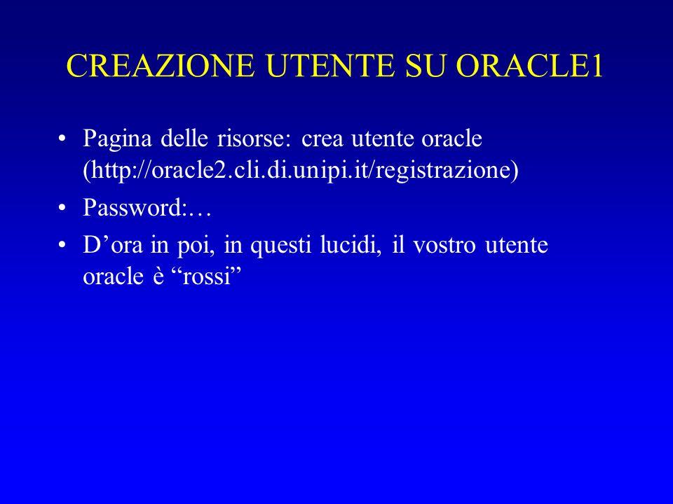 CREAZIONE UTENTE SU ORACLE1 Pagina delle risorse: crea utente oracle (http://oracle2.cli.di.unipi.it/registrazione) Password:… Dora in poi, in questi lucidi, il vostro utente oracle è rossi