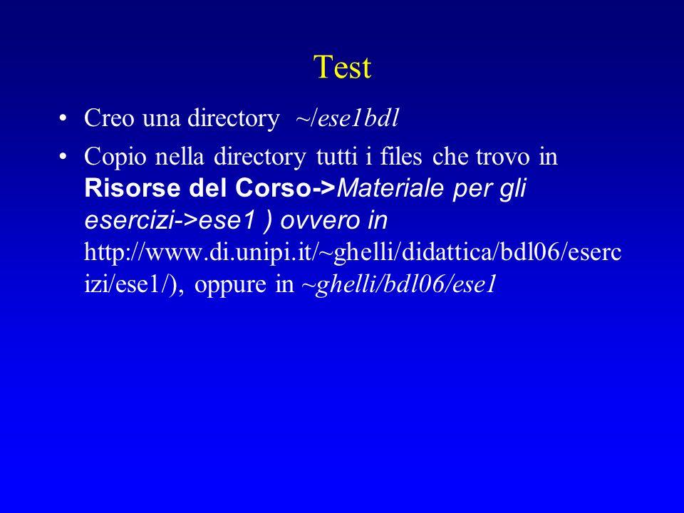 Test Creo una directory ~/ese1bdl Copio nella directory tutti i files che trovo in Risorse del Corso->Materiale per gli esercizi->ese1 ) ovvero in http://www.di.unipi.it/~ghelli/didattica/bdl06/eserc izi/ese1/), oppure in ~ghelli/bdl06/ese1