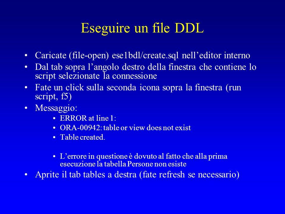 Eseguire un file DDL Caricate (file-open) ese1bdl/create.sql nelleditor interno Dal tab sopra langolo destro della finestra che contiene lo script selezionate la connessione Fate un click sulla seconda icona sopra la finestra (run script, f5) Messaggio: ERROR at line 1: ORA-00942: table or view does not exist Table created.